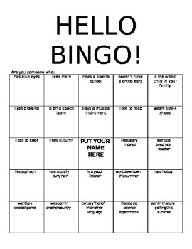Hello Bingo Getting to Know You Activity
