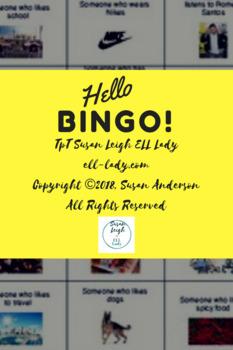 ESL Hello Bingo Icebreaker Beginning of Year Activity for Speaking + Listening