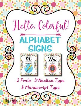Hello, Colorful! Alphabet Signs in 2 Fonts