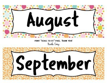 Hello, Colorful! Calendar Months & Dates
