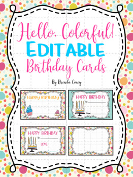 Editable Birthday Cards By Brenda Coney