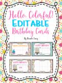 Hello, Colorful! Editable Birthday Cards