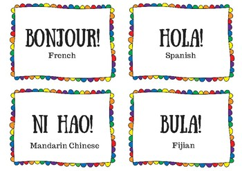 Hello! Colourful greeting sign in 38 languages!