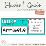 Desk Mat and Name Tags with Goals {Rainbow}