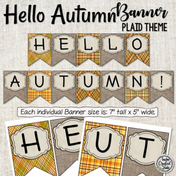 Hello Autumn Banner - Plaid and Burlap Banner - Fall Banner - Bulletin Board