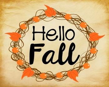 Autumn, Fall Poster, Class Decor, Holiday Sign, Bulletin B