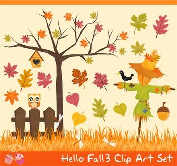 Hello Fall Autumn 3 Clipart Set