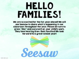 Hello Families! Seesaw Welcome Post