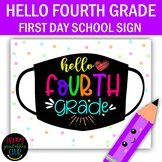 Hello Fourth Grade - School Sign Masks - First Day of 4th Grade