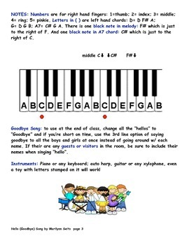 Hello (Goodbye) Song - With letter names, finger numbers and chord symbols...