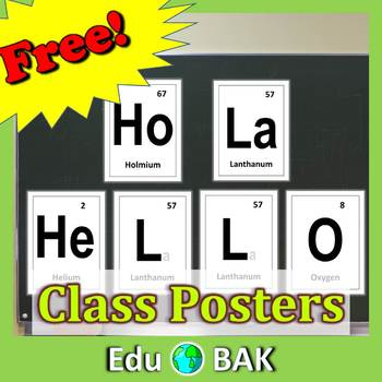 Hello/HoLa Periodic Elements Posters Science STEM Printables Classroom Decor
