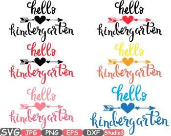 Hello Kindergarten Monogram Silhouette clipart Back to School 1st Day first 42sv