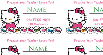 Hello Kitty Free Homework Pass - Valentines Cards 10 per page