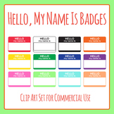 Hello My Name Is Badges Clip Art Set for Commercial Use