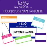 Hello My Name Is...  Editable Door Decor & Name Tag Bundle