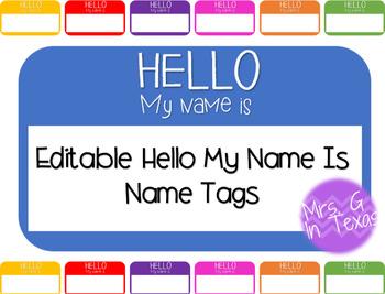 Hello My Name Is... Editable Name Tags