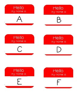 Hello My Name Is - Letters A-Z