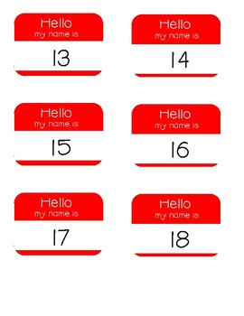 Hello My Name Is - Numbers 1-20