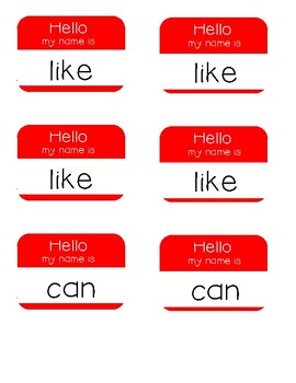 Hello My Name Is - Sight Word Practice