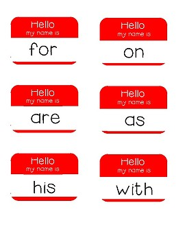 Hello My Name Is - Sight Word Practice Fry's First 100