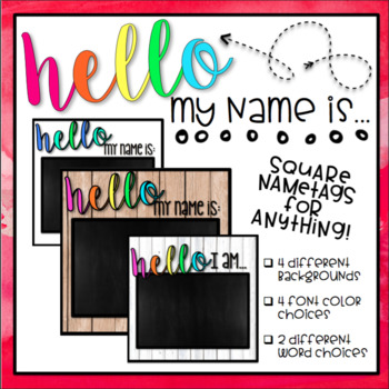 Hello My Name Is - Square Student Name Tags *Editable*