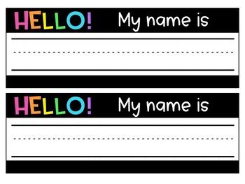 Hello! My Name is Name Tags *Editable*