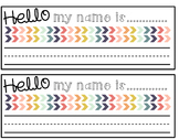 Hello My Name is.....Rainbow Chevron Desk Nameplates Editable