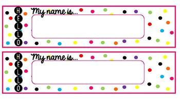 Hello, My name is... Polka Dot Confetti Nameplates