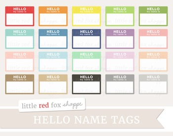 Hello Name Tag Label Clipart