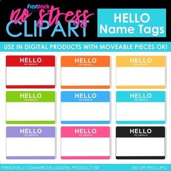Hello Name Tags Clip Art (Digital Use Ok!)