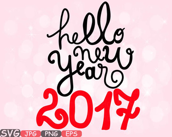 Hello New Year SVG clipart Champagne Cheers 2017 new year'