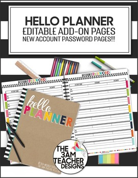 Hello Planner / Calendar Add-On Pages: Account Passwords Template
