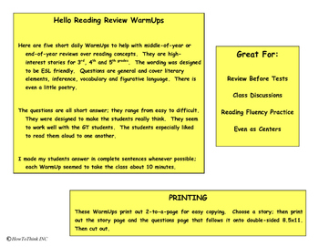 """Hello Reading"" Inference WarmUps - Hungry"