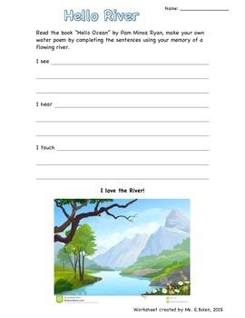 """Hello River"" Water Senses writing worksheet for grade 1/2"