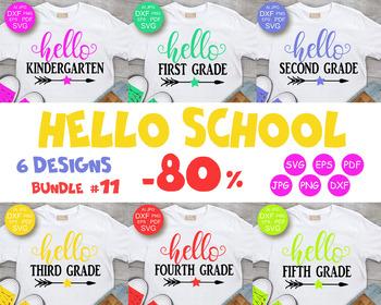 Hello School Bundle Svg Hello Kindergarten Svg Back To School Cutting Files Svg