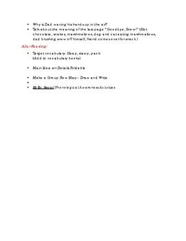 "Lesson Plan Activity for ""Hello Snow"" FREEBIE"