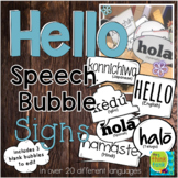 Hello Speech Bubble Signs in Different Languages (Photo Bo