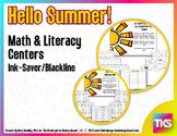 Summer Blackline Math and Literacy Centers