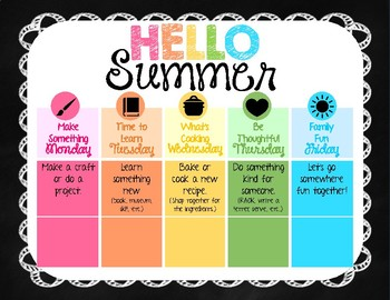 Hello Summer! - Weekly Summer Plan