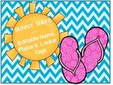 Hello Sunshine! SUMMER SCHOOL (Editable Nameplates & Locker Tags)