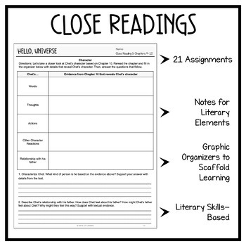 Hello Universe: Fiction Close Readings & Graphic Organizers - 21 Assignments