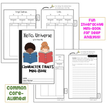 INTERACTIVE MINI-BOOK - Character Traits Analysis -Hello, Universe - Novel Study