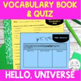 Hello, Universe Vocabulary Activities and Quiz