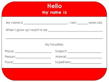 Hello my name is: Back-to-School Introduction Worksheet
