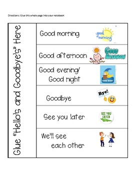 Hello's and Goodbye's in Spanish Interactive Notebook