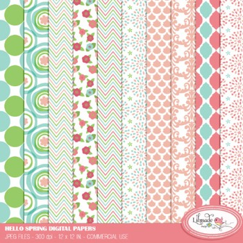 Hello spring commercial use digital papers
