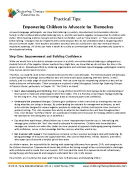 Help Children Who Stutter Advocate for Themselves (Part 1)