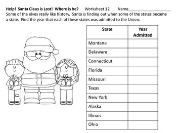 United States Facts and Trivia--Help Find Santa