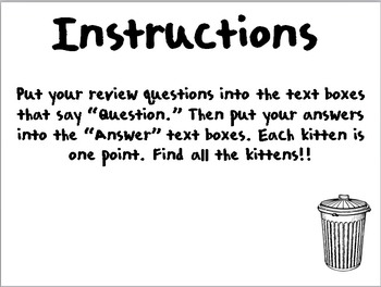 Help Find the Lost Kittens!! Review Powerpoint Game