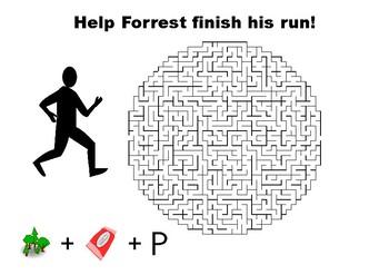 Help Forrest Gump finish his run maze puzzle